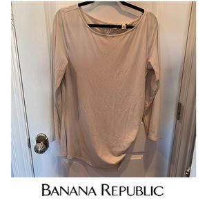 Banana Republic Cream Long Sleeve Ruched Side Top